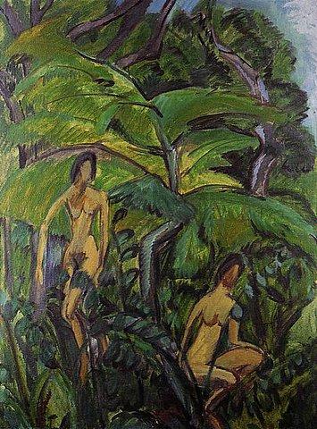 Ernst Ludwig Kirchner - 2 Badende zwischen Bäumen