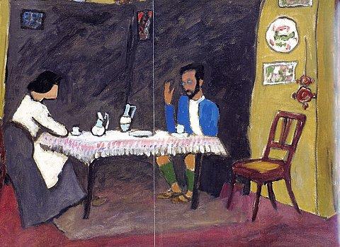Gabriele Münter - Kandinsky und Erma Bossi am Tisch