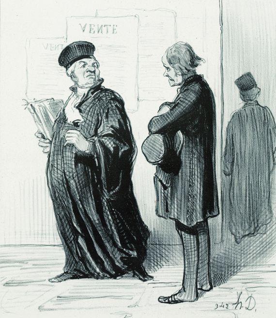 Honoré Daumier - 2 Bll.: Ne manquez pas de me répliquer. Mon cher Monsieur, il m'est absolument impossible de plaider votre affaire