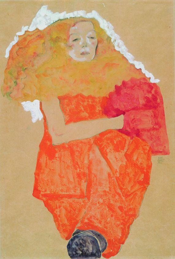 Egon Schiele - Frau mit rotem Muff, in einem orangefarbenen Kleid
