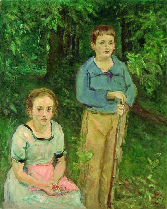 Max Slevogt - Doppelbildnis Nina und Wolfgang Slevogt (Kinder im Wald)