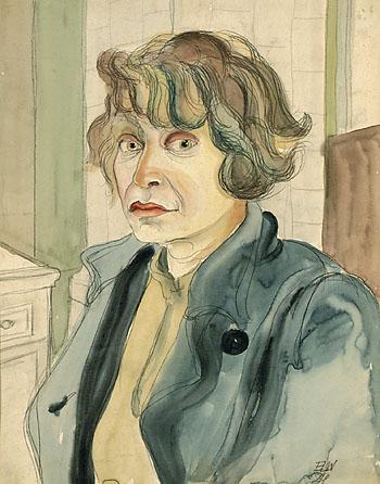 Elfriede Lohse-Wächtler - Im blauen Kittel - Selbstporträt IV