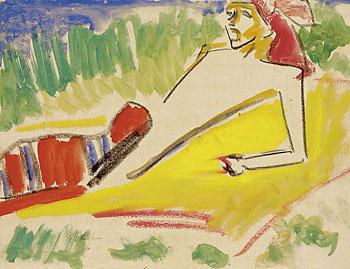 Ernst Ludwig Kirchner - Fränzi, am Wasser liegend
