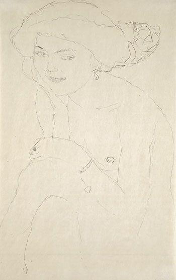 Gustav Klimt - Sitzender Halbakt von vorn, um 1910