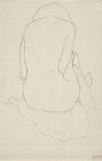 Gustav Klimt - Sitzender weiblicher Rückenakt