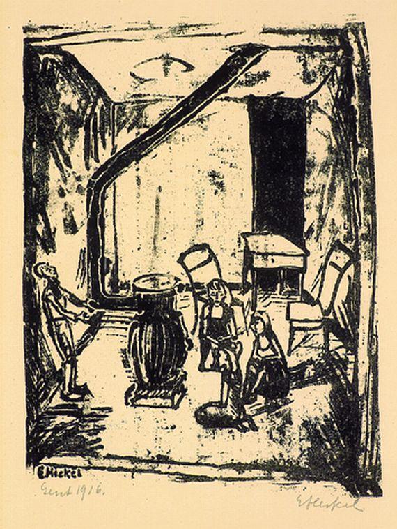 Erich Heckel - Kinder am Ofen