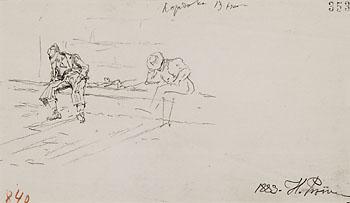 Ilya (Elias) Efimovich Repin - 2 Bll.: Joseph verkauft von seinen Brüdern. Schlafende Bauern (Studie)
