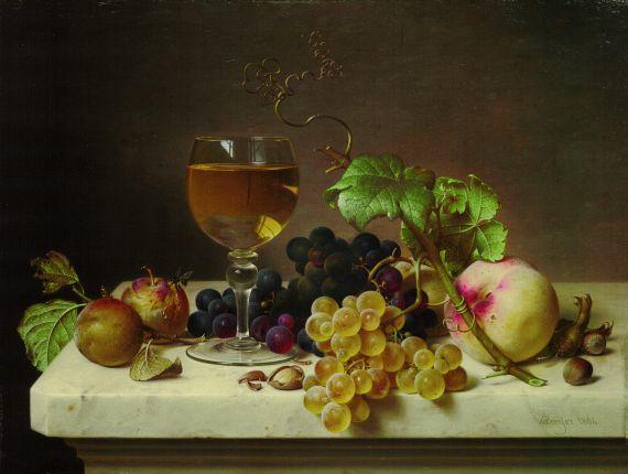 Johann Wilhelm Preyer - Stillleben mit Weinglas und Früchten