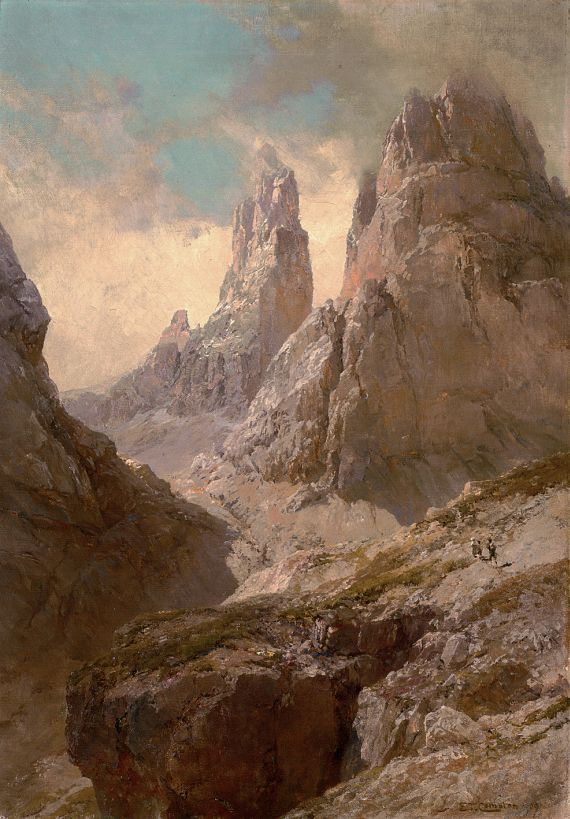 Edward Theodore Compton - Der Winklerturm von der Vashütte aus (Vajolettürme im Rosengarten bei Bozen)