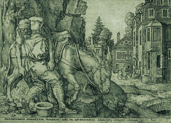 Heinrich Aldegrever - Der gute Samariter legt den Überfallenen auf den Esel