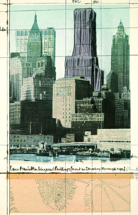 Christo - Lower Manhattan wrapped Buildings Project for 2 Broadway, New York