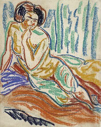 Ernst Ludwig Kirchner - Auf einem Diwan liegender weiblicher Akt
