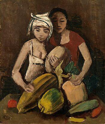 Karl Hofer - Zwei Mädchen mit Früchten