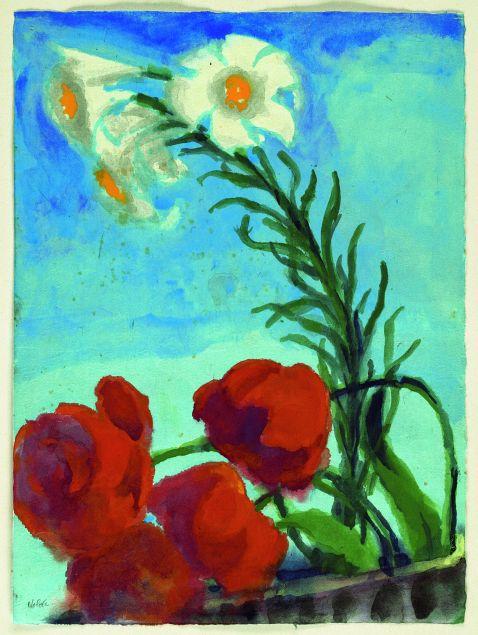 Emil Nolde - Mohn und weiße Lilien vor blauem Grund