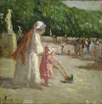 Maximilien Luce - Femme et enfant au jardin de Luxembourg