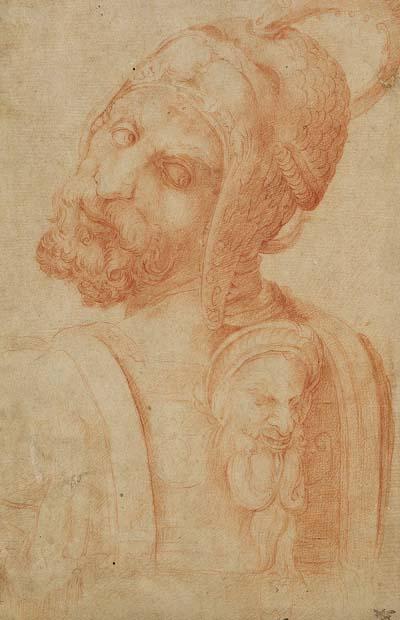 Battista Franco gen. Semolei - Männerkopf mit Groteske im Rücken (nach Michelangelo)
