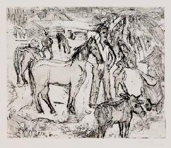 Ernst Ludwig Kirchner - Alpszene mit Pferd
