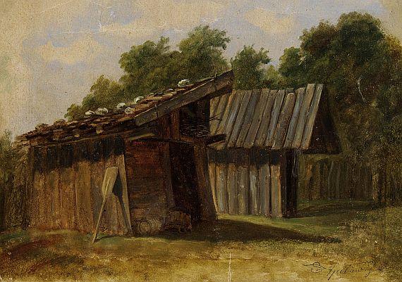 Carl Spitzweg - Zwei Fischerhütten am Waldrand