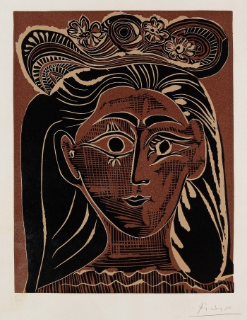 Pablo Picasso - Portrait de Jacqueline au chapeau de paille fleuri