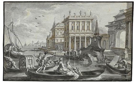 Johann Wolfgang Baumgartner - Hafenansicht mit Palast