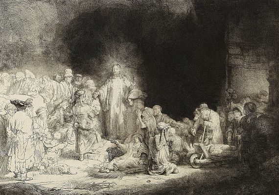 Harmensz. van Rijn Rembrandt - Christus heilt die Kranken. - Genannt: Das Hundertguldenblatt