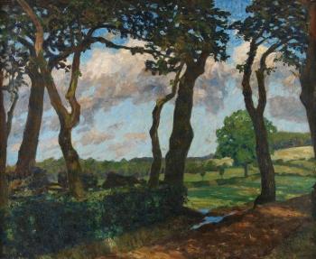 Fritz Overbeck - Bäume an der Aue im Sommerwind
