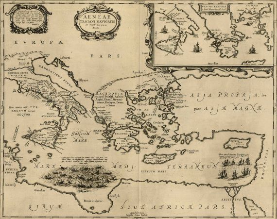 Johannes Janssonius - Aeneae Troiani navigatio.