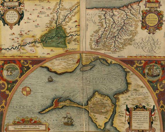 Abraham Ortelius - Carpetaniae pars. Guipus coae regionis typus. Cadiz urbs.