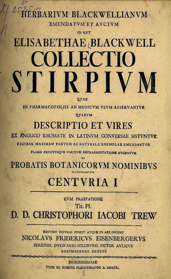 Elisabeth Blackwell - Herbarium Blackwellianum. 1750-73.