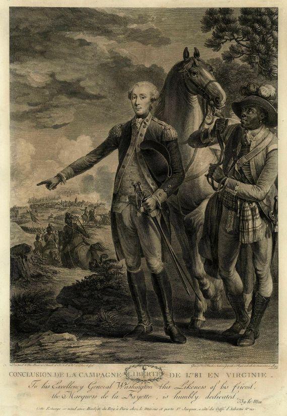 N. Le Mire - Porträts von G. Washington und Lafayette.