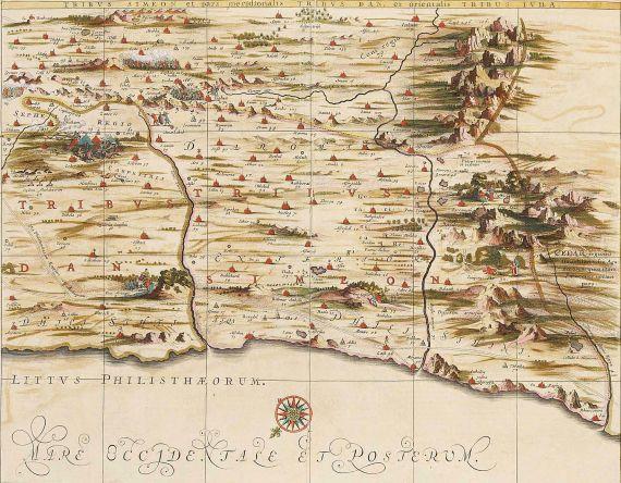 Johannes Janssonius - Tribus Simeon et pars meridionalis Tribus Dan, et orientalis Tribus Iuda.