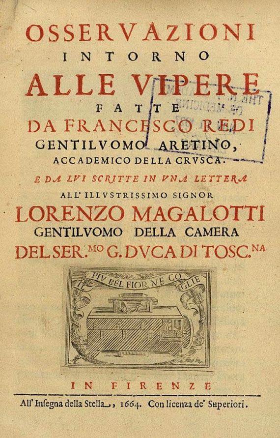 Francesco Redi - Osservazioni intorno alle vipere. 1664. EA.