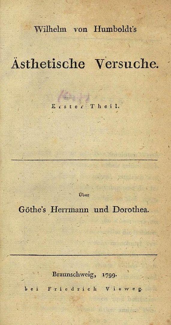 Wilhelm von Humboldt - Ästhetische Versuche