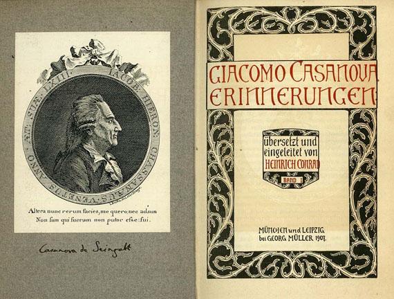 Giacomo Casanova - Erinnerungen, 15 Bde. + 1 Beig. 1907