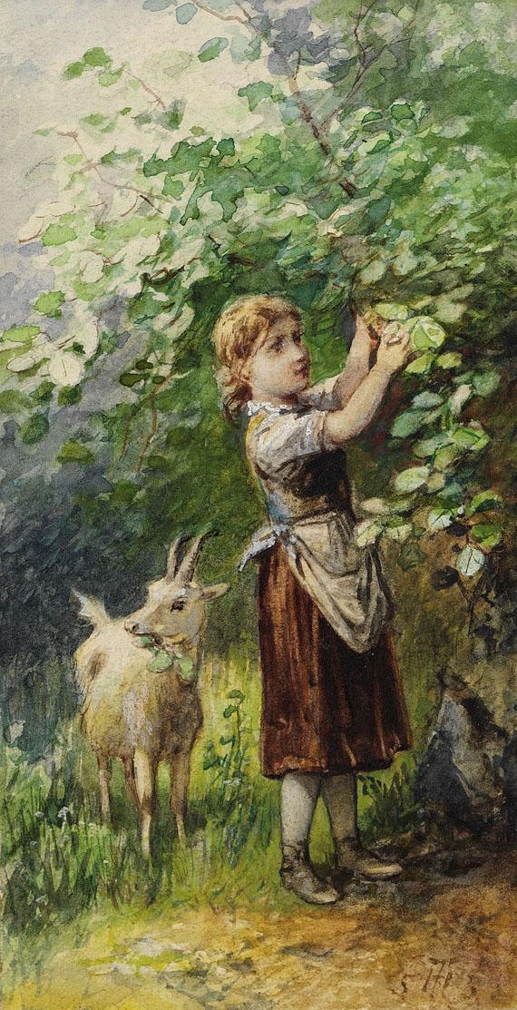 Theodor Hosemann - 3 Bll.: Kinder im Leiterwagen. Mädchen mit Ziege. Auf der Bank