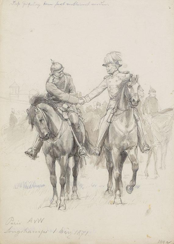 Anton von Werner - Bismarck und General von Hartmann vor Longchamps 1. März 1871