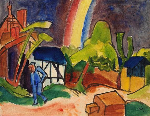 Karl Schmidt-Rottluff - Regenbogen über Dorfhäusern
