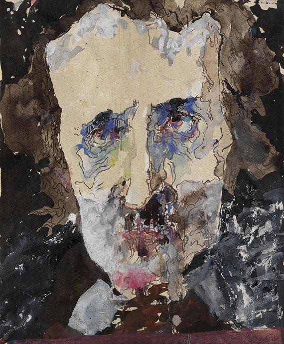 Horst Janssen - Zu Paranoia (Porträt von Edgar Allan Poe)