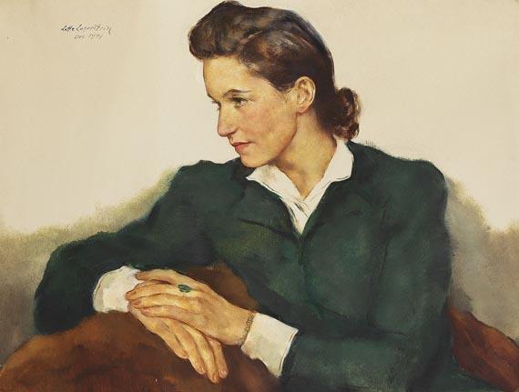 Lotte Laserstein - Dita Neumann im grünen Kleid