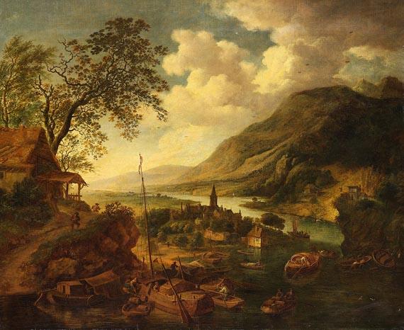 Jan Griffier - oder Robert Griffier um 1675 England - Amsterdam nach 1726 - Berglandschaft mit Anlegeplatz bei einem Dorf
