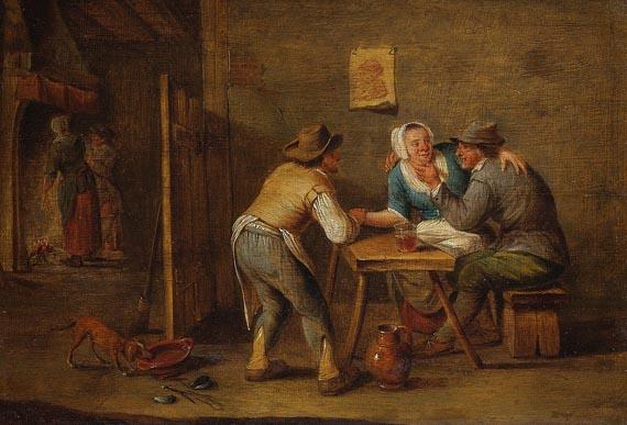 David Teniers (der Jüngere) - Nachfolge - Wirtshausszene mit zwei Bauern und einer Frau