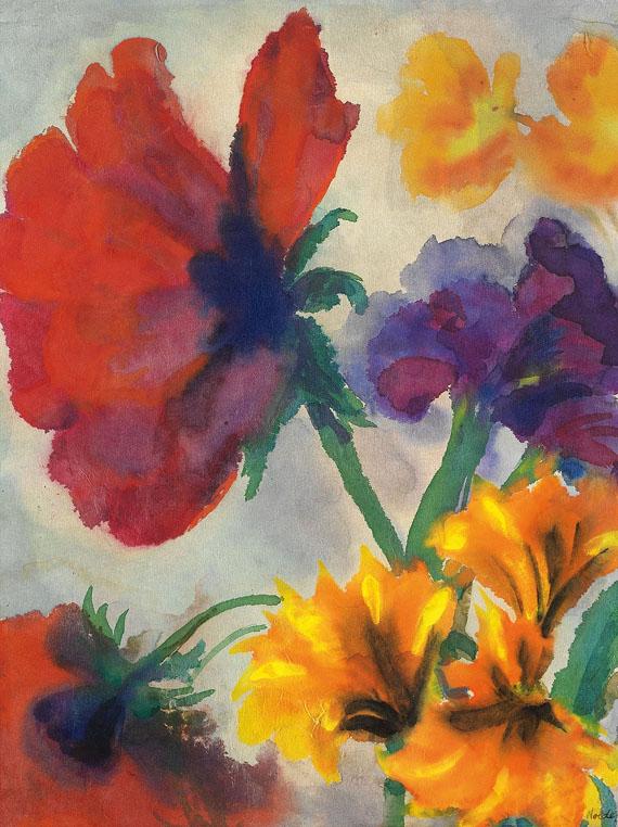 Emil Nolde - Mohn, gelbe und blaue Blüten
