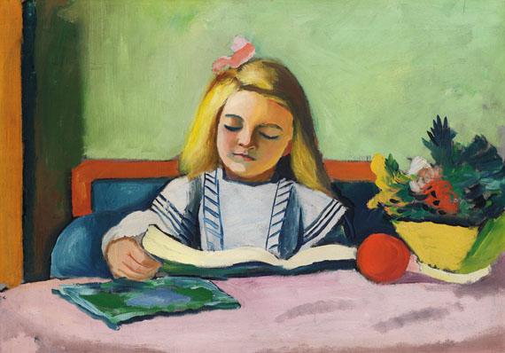 August Macke - Blondes Mädchen mit Buch