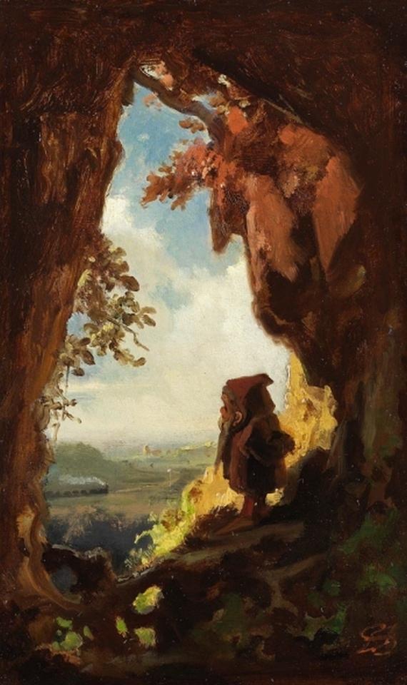 Carl Spitzweg - Gnom, Eisenbahn betrachtend (Gnomen)