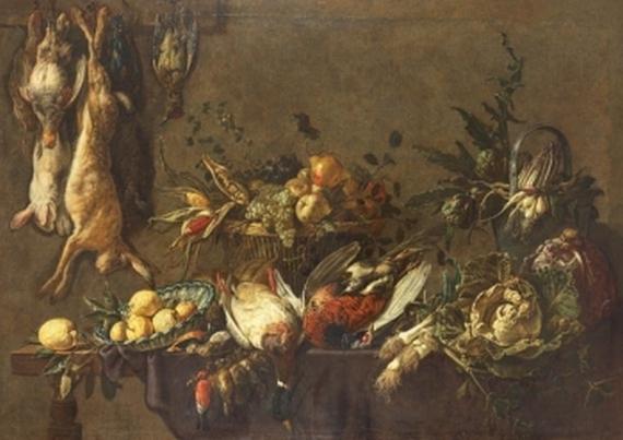 Adriaen van Utrecht - Küchenstillleben mit erlegtem Wild, Früchten und Gemüse
