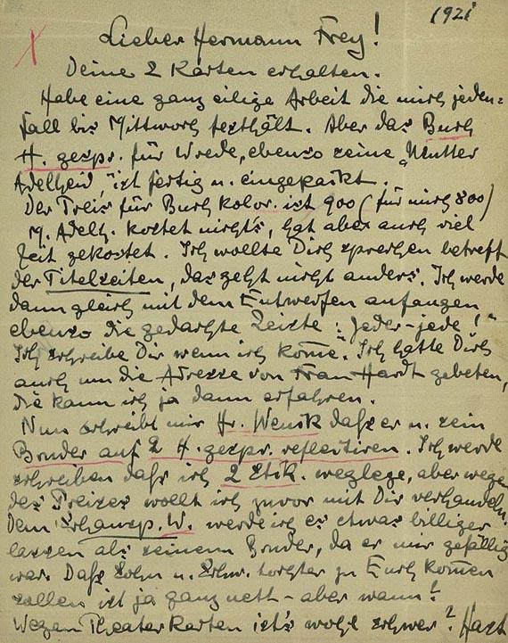 Heinrich Zille - Autograph. An H. Frey 1921 (42) + 1 Beigabe (79)