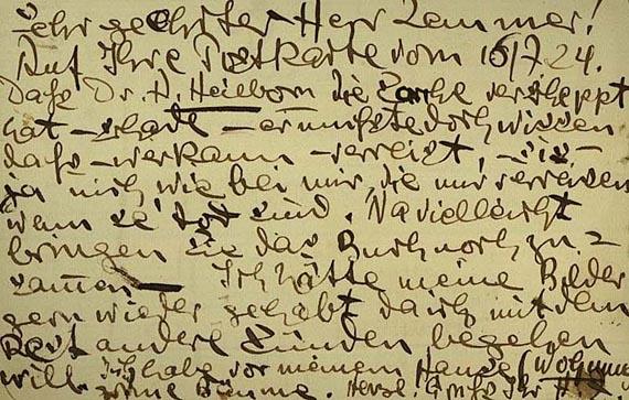 Heinrich Zille - 3 Autographen. An Lemmer, 1924/25 (24, 66, 68)
