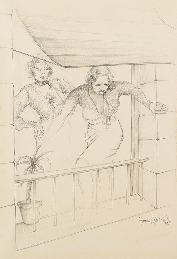 Franz Zureich - Zwei Damen am Balkon