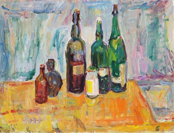 Wolfgang von Websky - Stillleben mit grünen Flaschen auf rotem Tischtuch