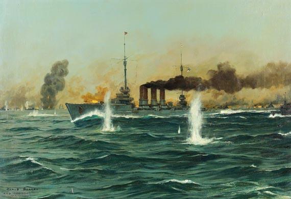"""Claus Bergen - """"S.M.S. Regensburg"""" in der Seeschlacht im Skagerrak am 31. Mai 1916"""